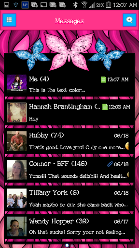 GO SMS - Cute Butterfly 7
