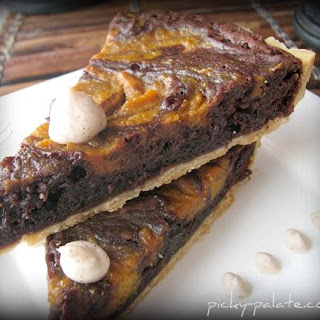 Pumpkin Pie Swirled Brownie Tart