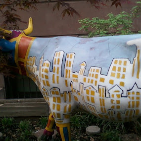Cow: E. 12th Street NYC by Angela Theresa Egic - Artistic Objects Other Objects ( colorful, art, cow, nyc, animal )