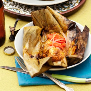 Achiote-Marinated Chicken Wrapped in Banana Leaves.