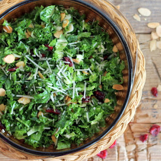 Kale and Brussels Sprout Salad with Cranberries & Toasted Almonds.
