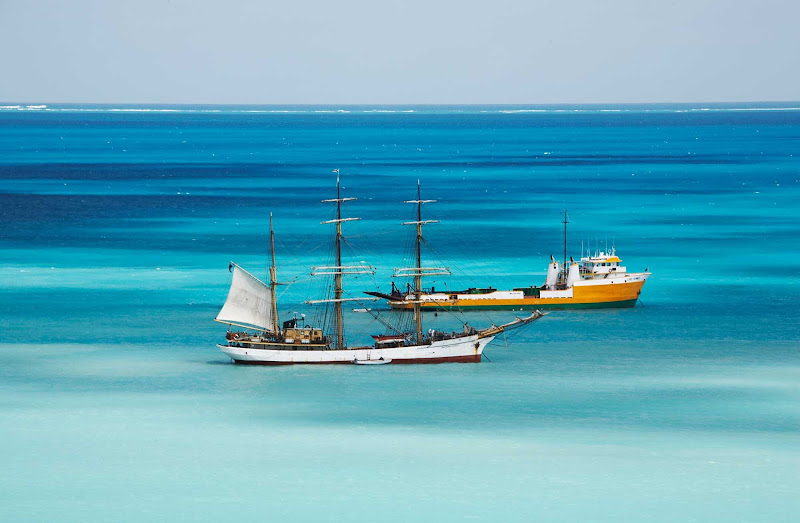 Ships in Rendezvous Bay, Anguilla.