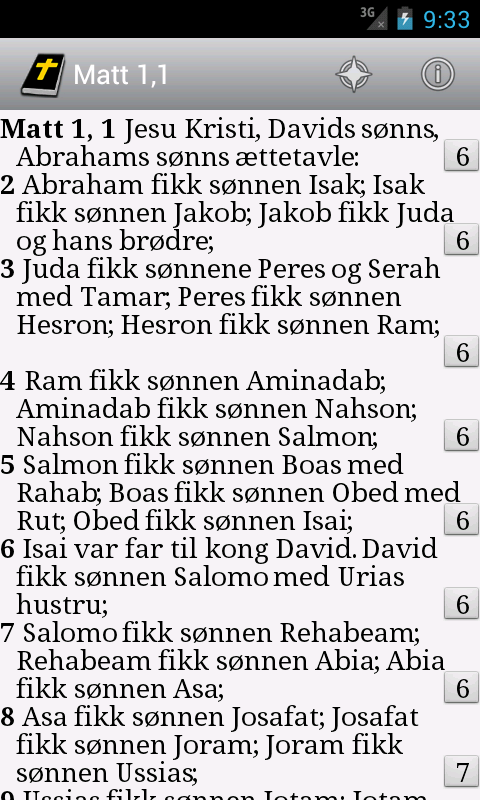 DataBibelen Bible in norwegian- screenshot