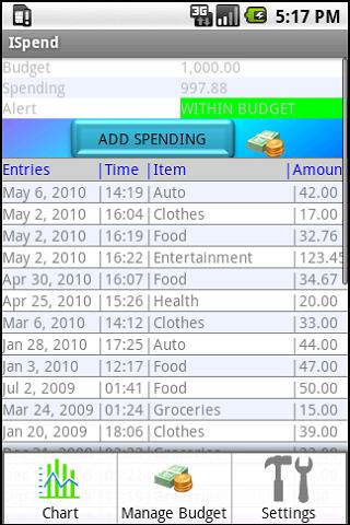 ISpend (Spending Monitor) - screenshot