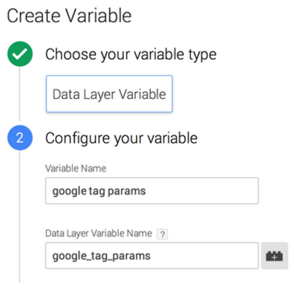 Create data layer variable google_tag_params