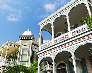 A group of historic buildings dubbed the Grand Dames in Galveston, Texas.