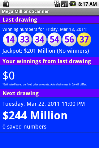 Mega Millions Scanner- screenshot