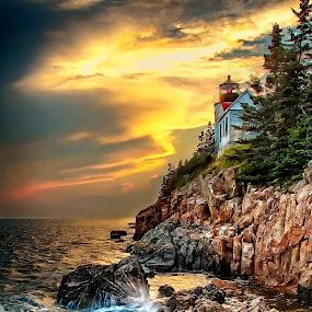 Sunset @ Bass Harbor Lighthouse, Maine by Lawayne Kimbro - Landscapes Sunsets & Sunrises (  )