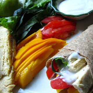 Wholewheat Chicken Mango Wrap With Lime Yogurt Sauce..