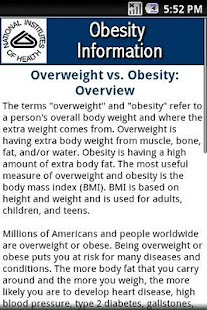 NIH: Obesity Information - screenshot thumbnail