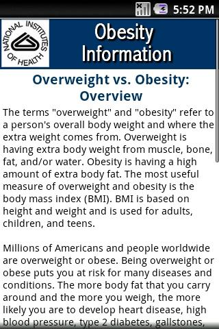 NIH: Obesity Information- screenshot