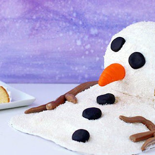 Melting Snowman Surprise Cake