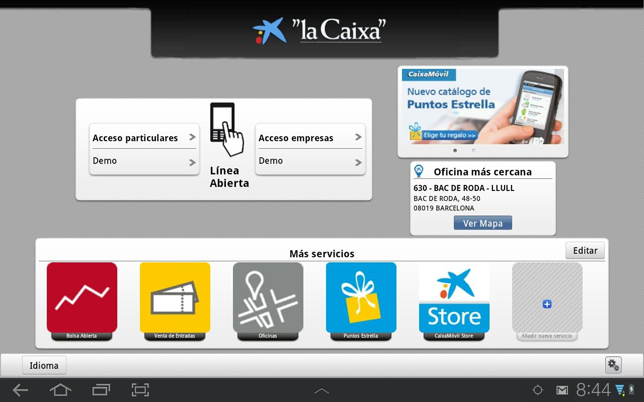 """la Caixa"" Tablet - screenshot"