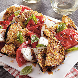 Crispy Eggplant With Tomatoes and Mozzarella