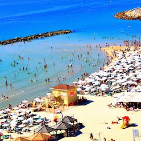 Beach View Form the Window  by Rita Uriel - Landscapes Beaches ( water, sand, sea, travel, beach, people, tan, sun,  )