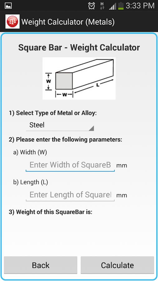 Weight Calculator Metal Screenshot