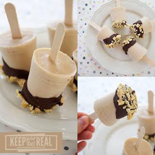 Frozen Chocolate Peanut Butter Banana Greek Yogurt Pops.