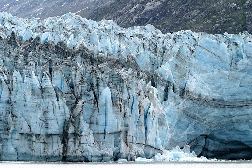 strat-Glacier-Bay - The stratification of the glacier is clearly visible to visitors to Glacier Bay National Park, Alaska.