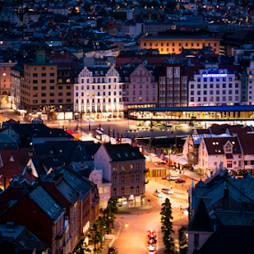Bergen, Norway. by Paulius Bruzdeilynas - City,  Street & Park  Night ( bergen, center, lights, sentrum, night, norge, downtown, city, norway,  )
