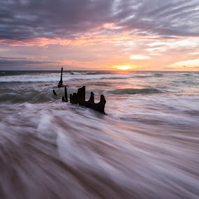 Shipwrecked on Sunrise by Cameron Watts - Landscapes Waterscapes ( water, sand, waterscape, ship, waves, sea, ocean, seascape, beach, beauty, landscape, boat, colour, nature, shipwreck, sunrise, light, natural, early, pirate )
