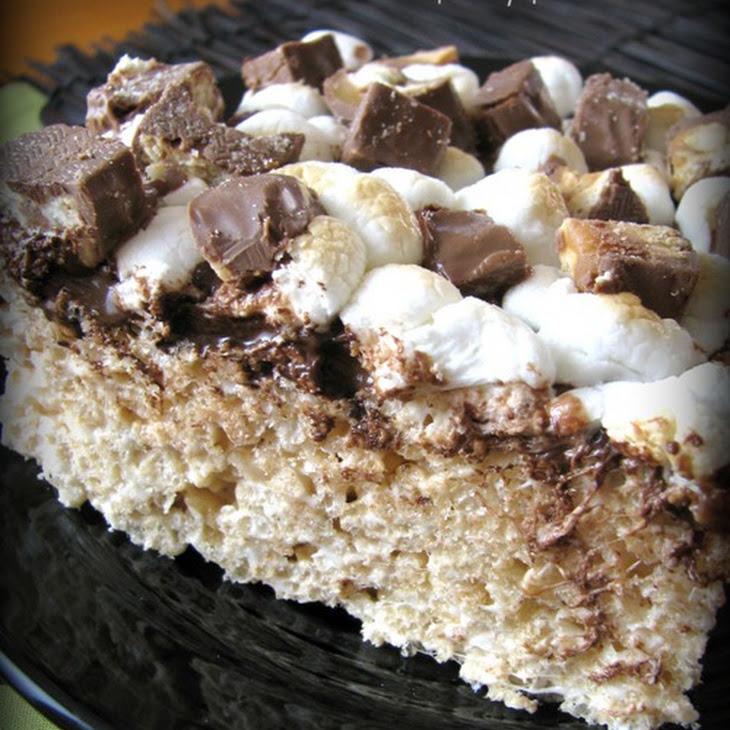 Extreme Toasted Marshmallow Candy Bar Rice Crispy Treats Recipe