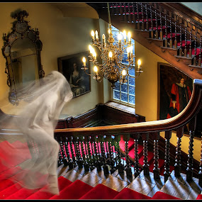 Apparition by Joan Blease - Digital Art People ( red, staircase, mood, spirit, apparition, ghostly, emotion )