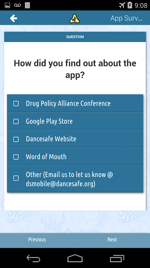 DanceSafe Mobile- screenshot