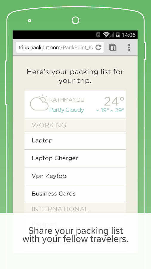 PackPoint travel packing list – zrzut ekranu