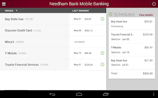 Screenshot of Needham Bank Mobile Banking