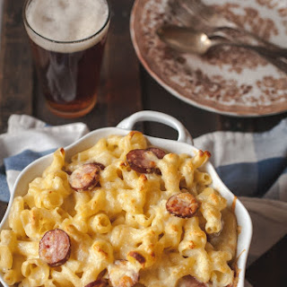 Vintage Cheddar and Gruyere Mac and Cheese with Polish Kielbasa.