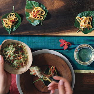 Betel Leaf Wraps with Curried Squid and Cucumber Relish.
