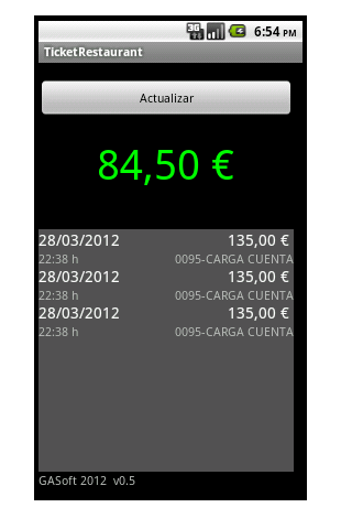 Ticket Restaurant Saldo - screenshot