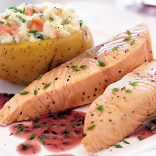 Salmon with Beurre Rouge and Smoked-Salmon-Stuffed Baked Potato.