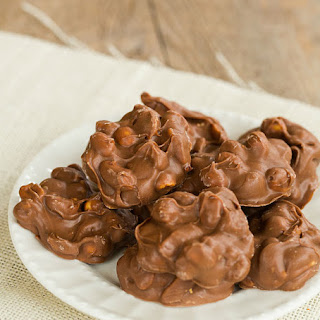 Slow Cooker Chocolate-Covered Peanut Clusters.