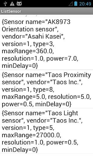 List Sensors