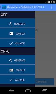 Generator n Validator CPF CNPJ - screenshot thumbnail