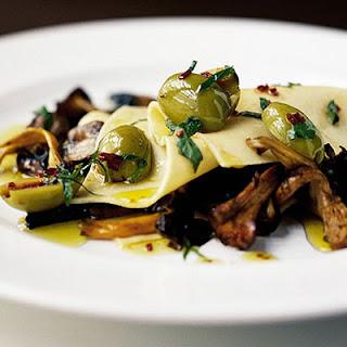 Open Lasagne Of Mushrooms & Olives.
