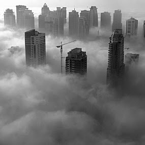 Foggy Dubai Morning by Tamsin Carlisle - Black & White Landscapes ( towers, black and white, dubai, fog, buildings, cloud, weather, sunrise, morning,  )