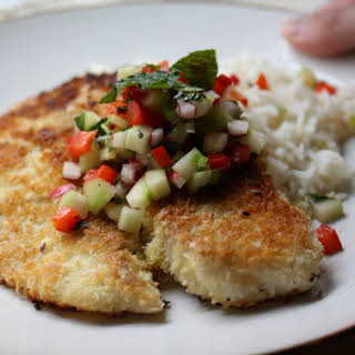 Coconut-Crusted Tilapia with Vegetable-Mint Salsa.
