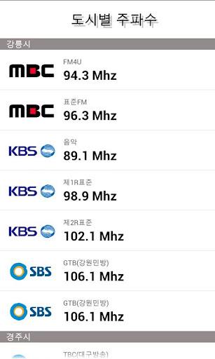 라디오 주파수 편성표 정보