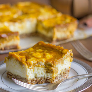 Pumpkin Pie Swirled Cheesecake Bars With Oatmeal Cookie Crust