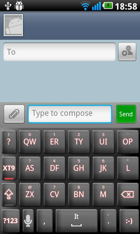 Droid Tech Keyboard Skin Red - screenshot