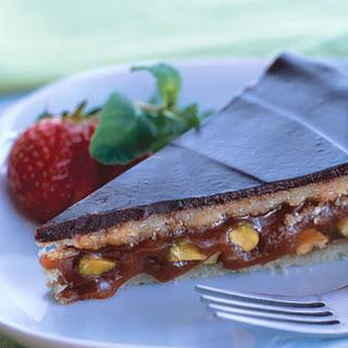Caramel-Pistachio Torte with Halvah and Dark Chocolate.