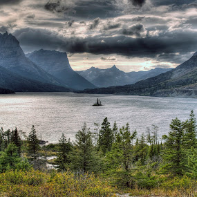 Saint Mary Lake by Jim Salvas - Landscapes Mountains & Hills ( clouds, water, mountains, lake, island, glacier national park )