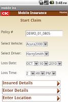 Screenshot of CSC's Mobile Insurance