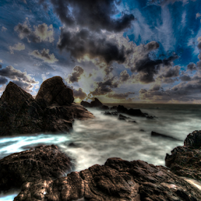 Ocean Rocks by Peter Wyatt - Landscapes Beaches (  )