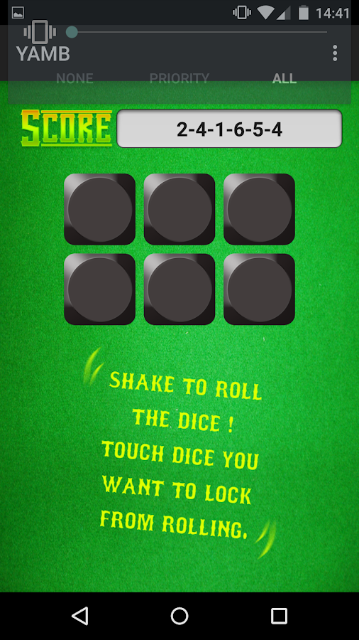 YAMB dice- screenshot