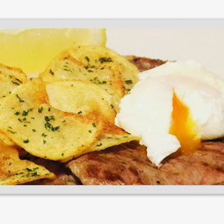 Rump Steak with Chips and Poached Egg.