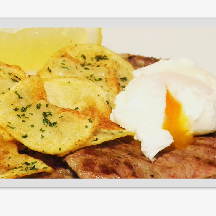 Rump Steak with Chips and Poached Egg