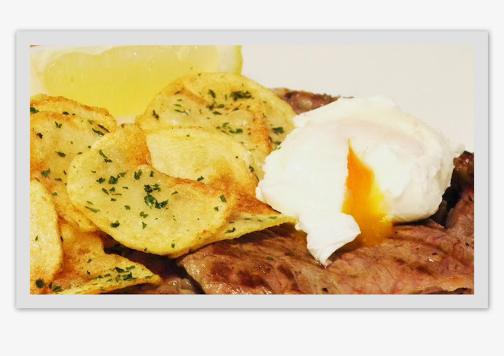 Rump Steak with Chips and Poached Egg Recipe